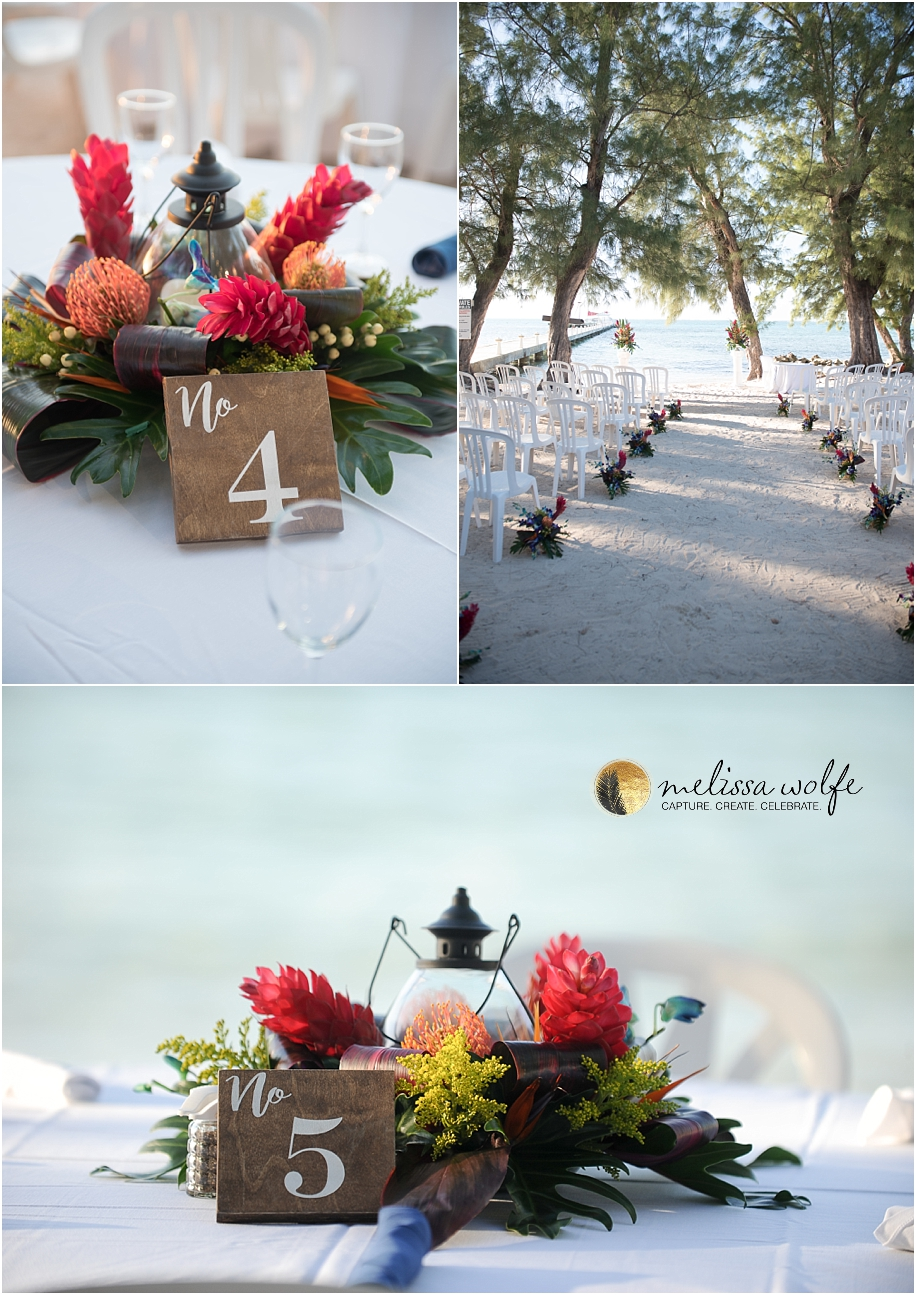 Tropical Wedding Decor photographed by Melissa Wolfe, Grand Cayman