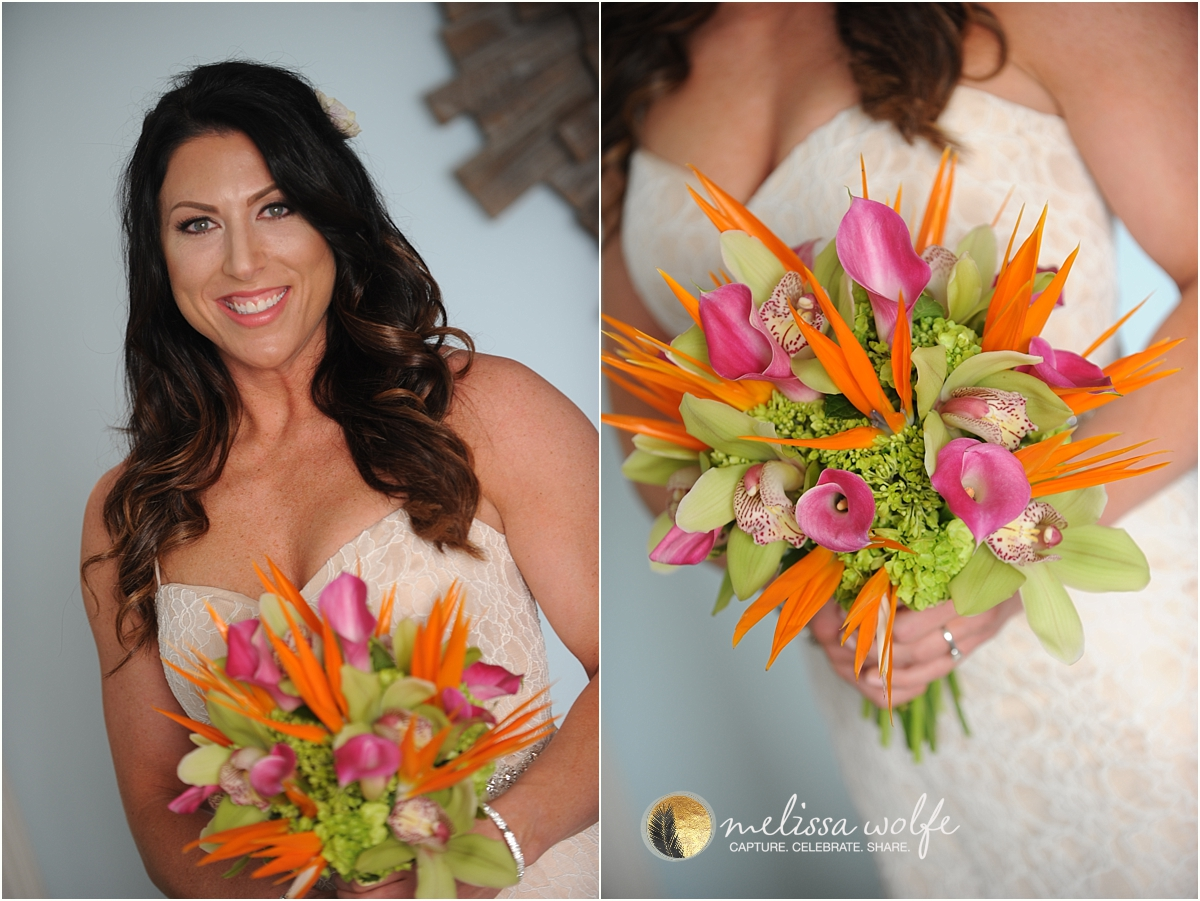 colourful Caribbean wedding bouquet